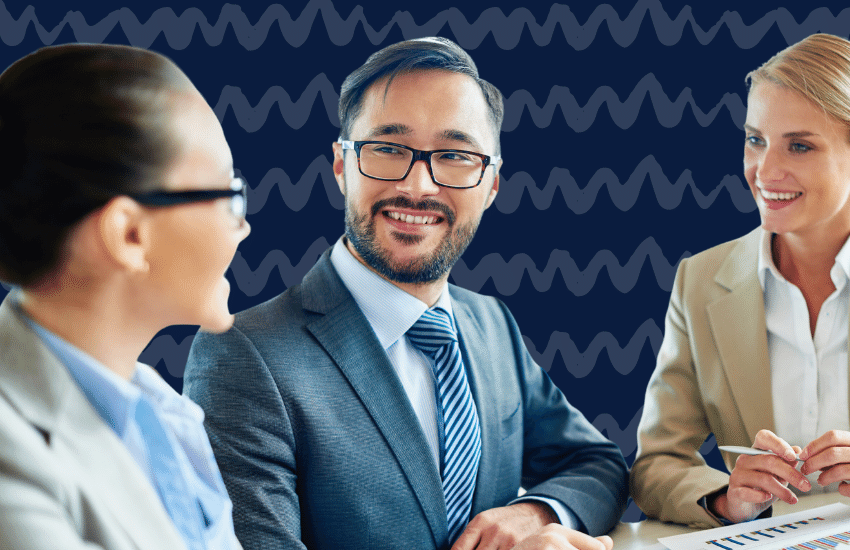 Man smiling during business meeting